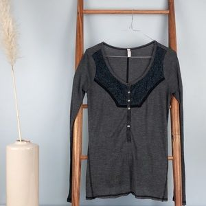 🌿Free People Henley Navy Thermal Long Sleeve -L🌿